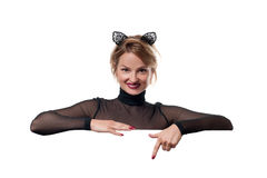日历概念日期冷面万圣节愉快的藏品微型收割机说大镰刀身分 有狂欢节猫耳朵的妇女 免版税库存照片