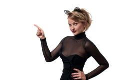 日历概念日期冷面万圣节愉快的藏品微型收割机说大镰刀身分 有狂欢节猫耳朵的妇女 库存照片