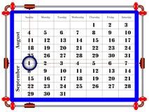 日历模板在干净的最小的样式的2019年9月 星期天星期开始 皇族释放例证