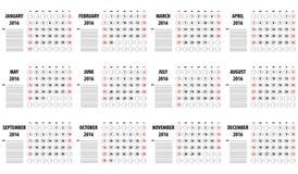日历模板在2016年 库存图片
