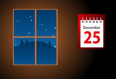 日历的例证与圣诞节日期 库存照片
