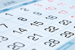 日历的几天 图库摄影