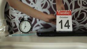 日历的变动编号,星期一10月13日, 结束的星期一重的天13不幸的数字 股票录像