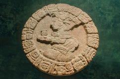 日历的古老玛雅石圆盘 免版税库存照片