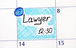 日历的提示律师 库存图片
