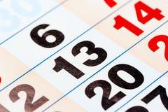 13日历的数字 免版税库存照片