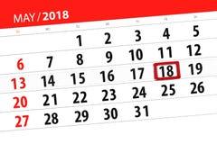 日历第2018页可以18 免版税图库摄影