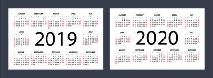 日历设置了2019年2020年 在星期天,星期起始时间 简单清洗 免版税库存照片