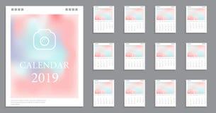 日历设计2019年 免版税库存图片
