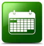 日历象绿色正方形按钮 免版税库存图片