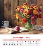 日历页的设计, 2018年9月 加尔省花束  免版税库存图片