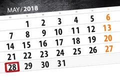 日历,天,月,事务,概念,日志,最后期限,计划者,状态假日,桌,彩色插图, 2018年,可以28 库存照片