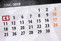 日历,天,月,事务,概念,日志,最后期限,计划者,状态假日,桌,彩色插图, 2018年, 6月4日 免版税图库摄影
