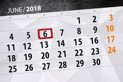 日历,天,月,事务,概念,日志,最后期限,计划者,状态假日,桌,彩色插图, 2018年, 6月6日 免版税库存照片