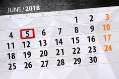 日历,天,月,事务,概念,日志,最后期限,计划者,状态假日,桌,彩色插图, 2018年, 6月5日 库存照片