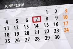 日历,天,月,事务,概念,日志,最后期限,计划者,状态假日,桌,彩色插图, 2018年, 6月7日 图库摄影