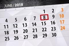 日历,天,月,事务,概念,日志,最后期限,计划者,状态假日,桌,彩色插图, 2018年, 6月8日 图库摄影
