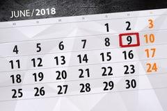 日历,天,月,事务,概念,日志,最后期限,计划者,状态假日,桌,彩色插图, 2018年, 6月9日 库存照片