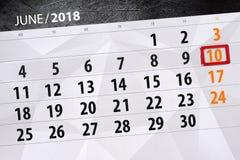 日历,天,月,事务,概念,日志,最后期限,计划者,状态假日,桌,彩色插图, 2018年, 6月10日 图库摄影