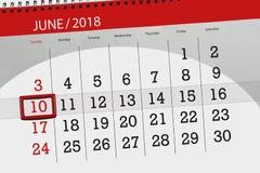 日历,天,月,事务,概念,日志,最后期限,计划者,状态假日,桌,彩色插图, 2018年, 6月10日 库存照片