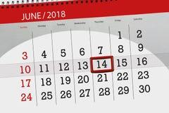 日历,天,月,事务,概念,日志,最后期限,计划者,状态假日,桌,彩色插图, 2018年, 6月14日 免版税库存图片