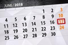 日历,天,月,事务,概念,日志,最后期限,计划者,状态假日,桌,彩色插图, 2018年, 6月17日 免版税库存照片