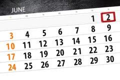 日历,天,月,事务,概念,日志,最后期限,计划者,状态假日,桌,彩色插图, 2018年, 6月2日 库存图片