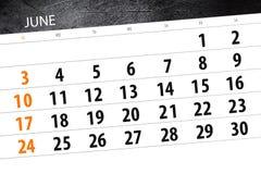 日历,天,月,事务,概念,日志,最后期限,计划者,状态假日,桌,彩色插图, 2018年, 6月 免版税库存照片