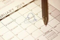 日历,2019 2月14日,年 St情人节 被定调子的图象 免版税图库摄影