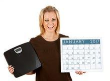 2017日历:妇女激动在1月节食 库存照片