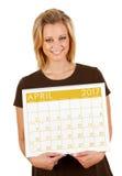 2017日历:拿着空白的4月日历 免版税图库摄影