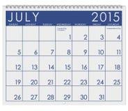2015日历:月份的7月 免版税库存图片