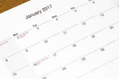 日历2017个月1月特写镜头 免版税库存照片