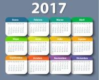 日历2017年传染媒介设计模板用西班牙语 库存图片