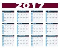 日历2017传染媒介设计模板 与星期一的星期起始时间 欧洲版本 免版税图库摄影