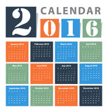 日历2016传染媒介设计 向量例证