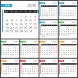 日历2015传染媒介desing的模板 免版税图库摄影