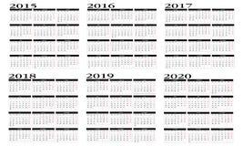 日历2015年到2020年 皇族释放例证