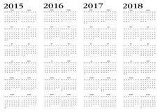 日历2015年到2018年 库存照片