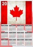 2017日历-加拿大国旗横幅-新年好 库存照片
