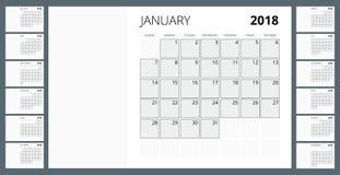 2018日历 印刷品模板 星期星期天开始 画象取向 套12个月 计划者2018年 库存图片