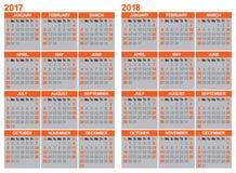 日历2017年和2018年 免版税库存照片