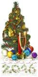 日历2016年 圣诞节装饰和香槟玻璃特写镜头的图象 库存照片