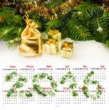 日历2016年 圣诞节装饰特写镜头的图象 免版税库存图片