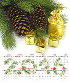 日历2016年 圣诞节装饰特写镜头 库存照片