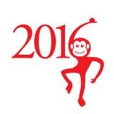 日历2016年猴子:中国黄道带标志 免版税图库摄影