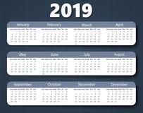 日历2019年传染媒介设计模板 开始在星期天的星期 皇族释放例证