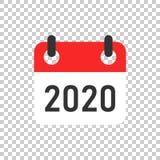 日历2020年在透明样式的组织者象 任命事件在被隔绝的背景的传染媒介例证 月最后期限 皇族释放例证