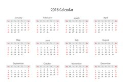日历2018年模板设计 免版税库存照片