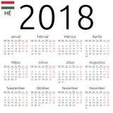 日历2018年,匈牙利语,星期一 皇族释放例证